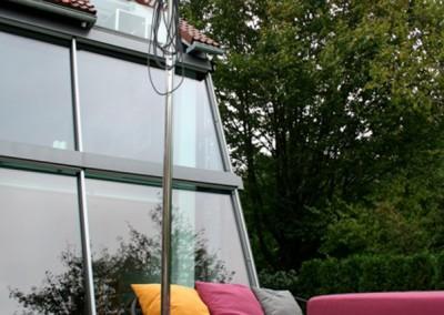 Private Gartenanlage Terasse Dusche Sichtschutz Lärche Rombusschallung unbehandelt (3)