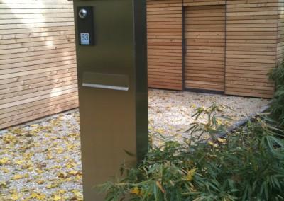 Private Gartenanlage Terasse Dusche Sichtschutz Lärche Rombusschallung unbehandelt (5)
