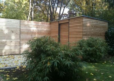 Private Gartenanlage Terasse Dusche Sichtschutz Lärche Rombusschallung unbehandelt (6)